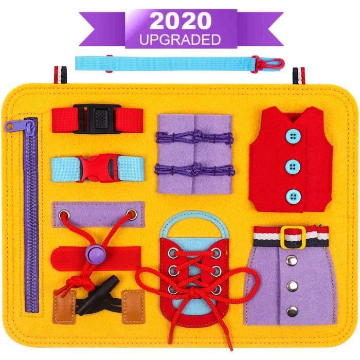 Busy Board Panneau Montessori, Tableau Activités Bébé, Jouet Éducatif pour Enfant 1 2 3 4 Ans Apprendre à s'habiller, Les Compétence