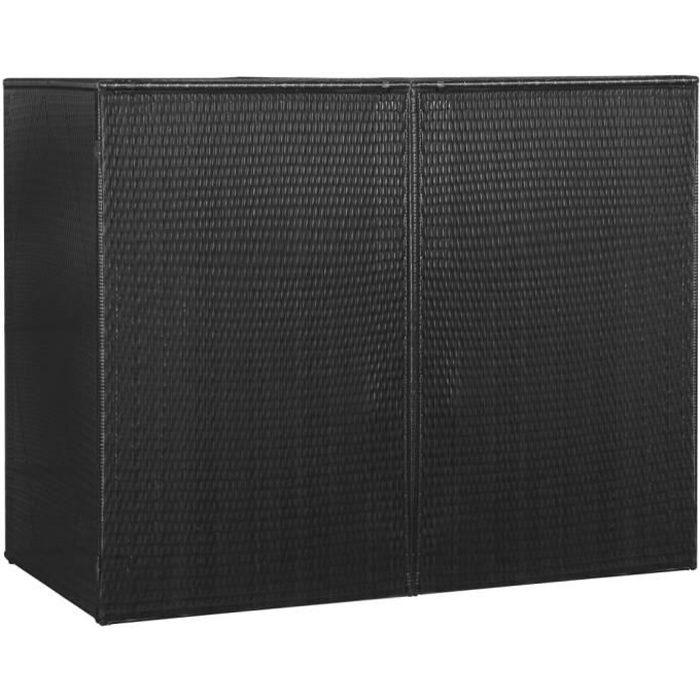 Abri pour poubelle double Noir 153x78x120 cm Résine tressée-TIPTOP-co