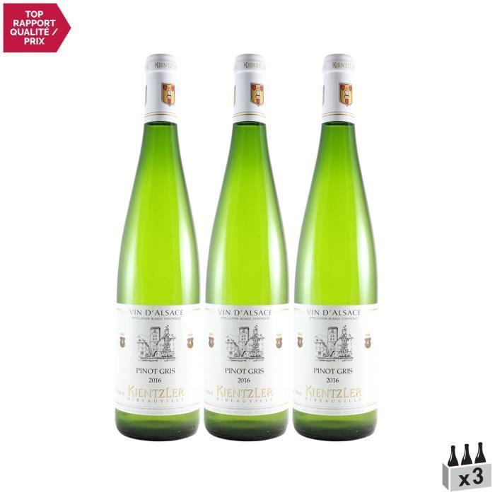 Alsace Pinot Gris Blanc 2016 - Lot de 3x75cl - Domaine Kientzler - Vin AOC Blanc d' Alsace - Cépage Pinot Gris