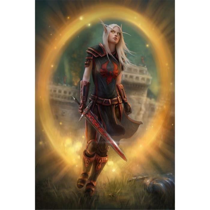 NGME-195 Yangch World Of Warcraft, Kit De Peinture Au Diamant Affiche 3D, Rond - Carré Adulte Couture Artisanat Mais Taille:50x70cm