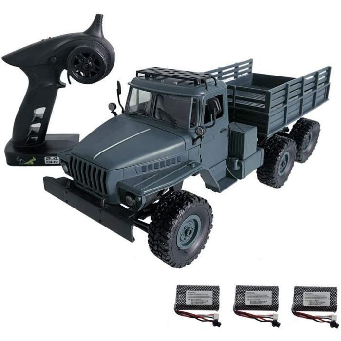 RC Camion Militaire avec Lumières LED, 1:16 2.4G 6WD Camion Militaire Telecommandé Voiture Télécommande Tout Terrain RC Buggy Camion