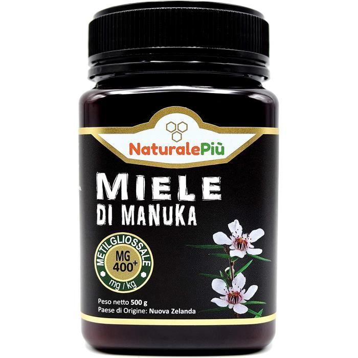 Miel de Manuka 400+ MGO 500 gr. Produit en Nouvelle-Zélande. Actif et brut, 100 % pur et naturel. Méthylglyoxal testé par des labora