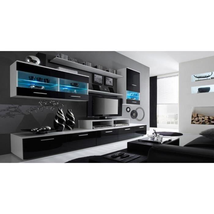 Ensemble de Meubles - Ensemble de séjour avec LEDs contemporain Blanc Mate et Noir Laqué, Dimensions : 250x194x42 cm de profondeur.