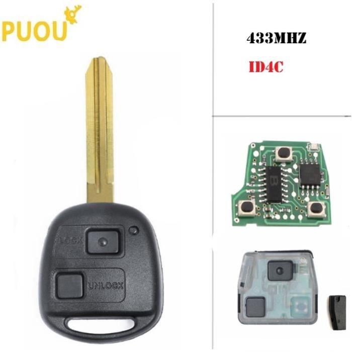 Coque clé,Clé télécommande à 2 boutons, 315MHz, transpondeur id4c, pour voiture Toyota Avensis, Corolla, Yaris, Rav4 FCC