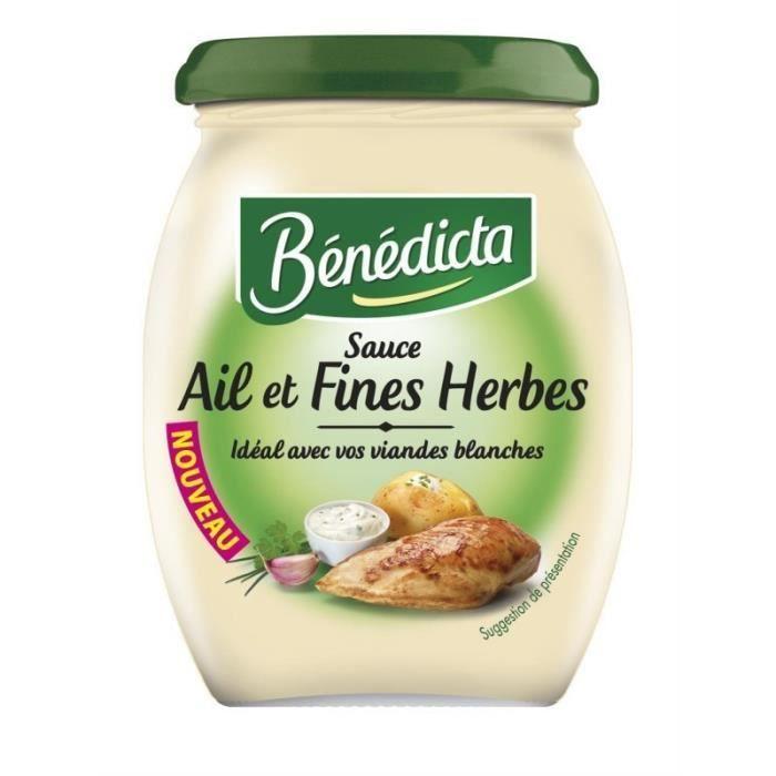 Bénédicta Sauce Ail et Fines Herbes Idéal avec vos Viandes Blanches 260g (lot de 6)