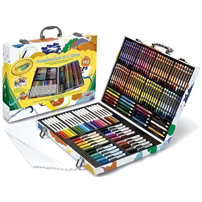 Mallette de l'Artiste 140 pieces : Crayons cire, Crayons couleurs, Feutres lavables, Feuilles - Coffret Coloriage - Dessin,