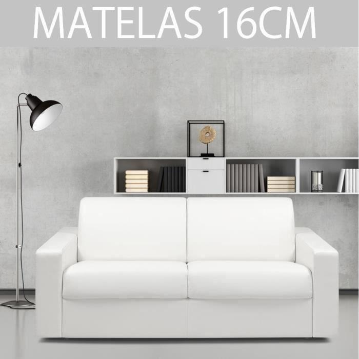 Canapé convertible MIDNIGHT RAPIDO 160cm matelas 16cm polyuréthane blanc blanc simili cuir Inside75