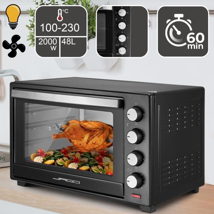 Mini Four - Capacité 48 L, 2000 W, Minuteur 0-60 min, 100-230°C, 6 Modes de Cuisson, avec Rôtissoire, Grille et Plaques - Four