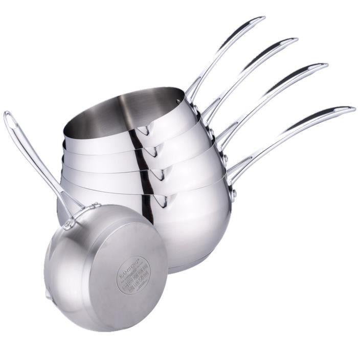 Casseroles 12 / 14 / 16 / 18 / 20 cm - Acier Inoxydable Haute Qualité - Poignée anti chaleur Argent Kamberg
