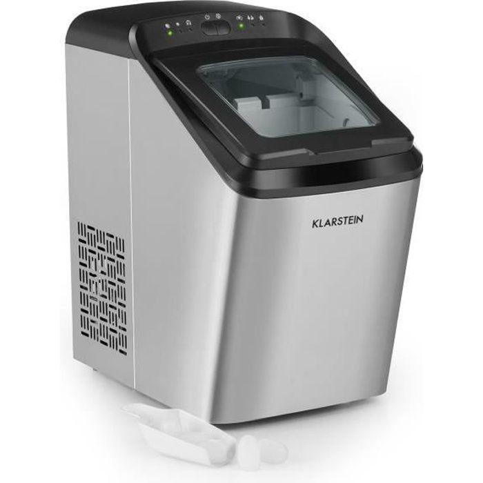 Klarstein Partytime Machine à glaçons - glace claire , 2 tailles de cube , 15kg-24h - Inox argent