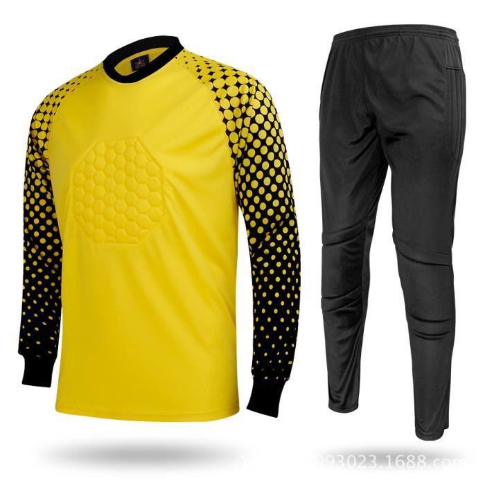 Trousse de maillots de gardien de but junior pour gardien de but de football Uniforme de protection des éponges Chemises de gardien