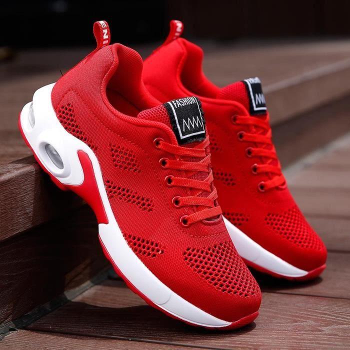 Baskets de sport en maille pour femmes à la mode, chaussures de sport, chaussures de course pour étudiants rouge