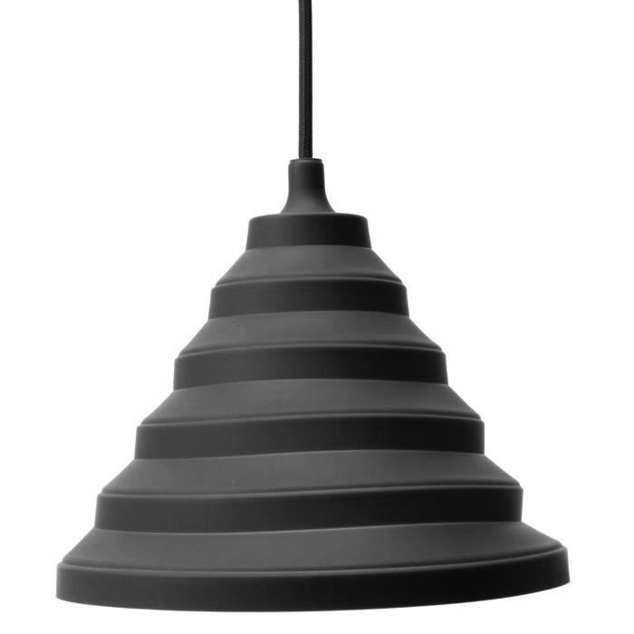 NEUFU E27 Abat-jour en silicone suspension plafonnier pour edison globe (sans ampoule) Noir