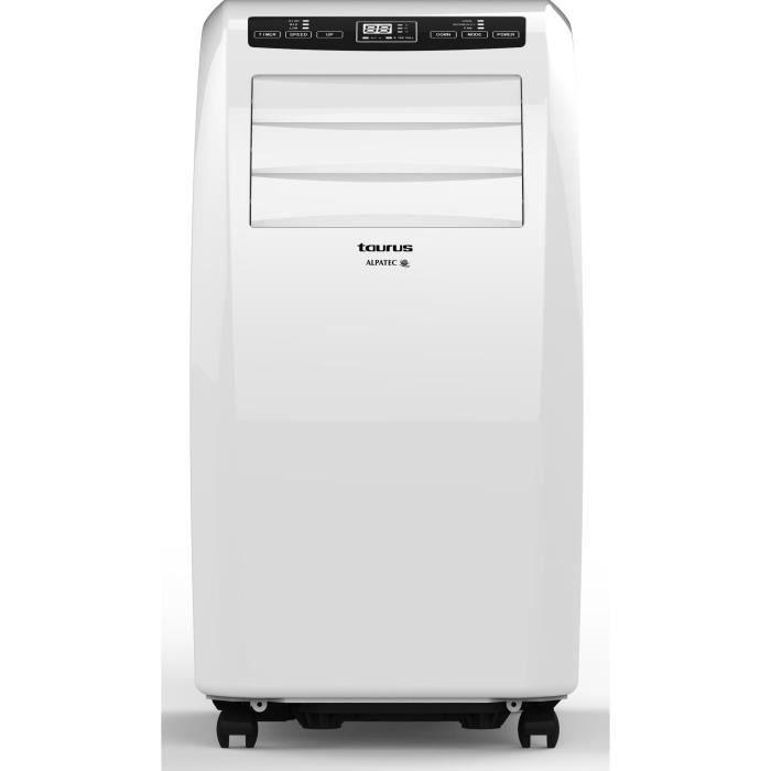 TAURUS AC293 Climatiseur mobile - 2900 watts - 10000 Btu - Fonction Déshumidification - Ventilation - Minuterie - Silencieux- Blanc