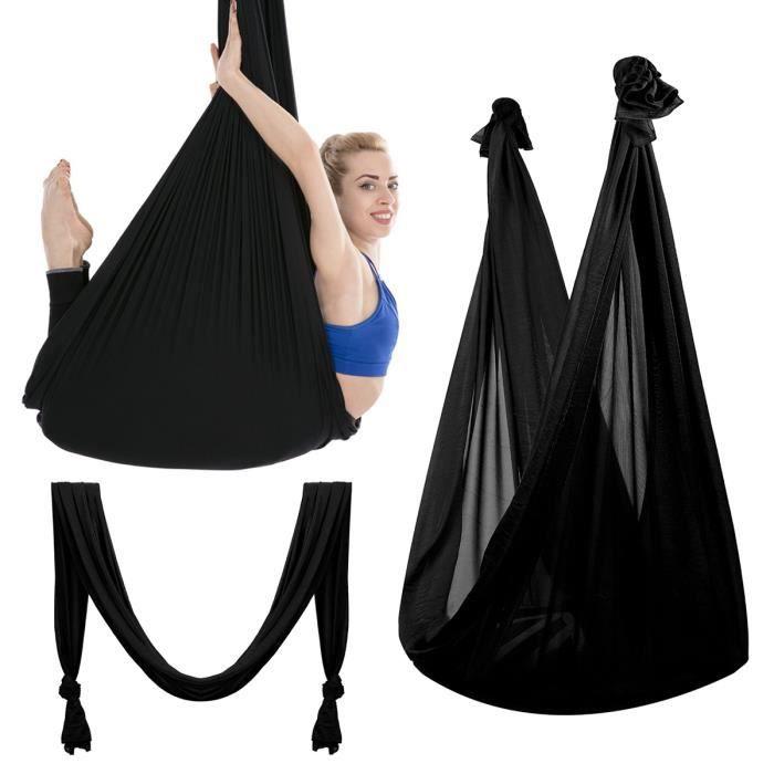 TEMPSA Hamac de Yoga Aérien Elastique anti-gravité Sport NOIR