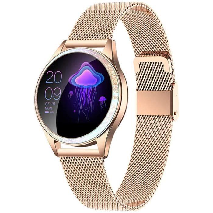 Montre Connectée Femmes IP68 Etanche Bracelet Connecté Écran Coloré Smartwatch avec Cardio Podometre Sommeil Réveil Notifications po