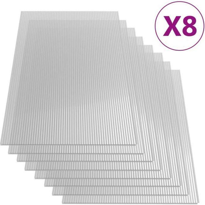 vidaXL Plaques de polycarbonate 8 pcs 4 mm 121x60 cm