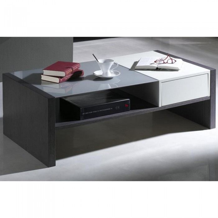 table basse grise et blanche 2 tiroirs alix une achat vente table basse table basse grise. Black Bedroom Furniture Sets. Home Design Ideas