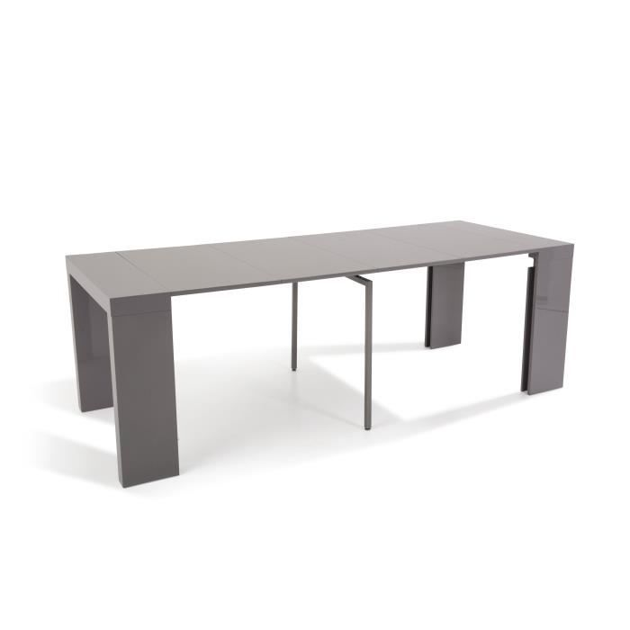 Table console extensible othello 4 allonges laqu gris 2m35 achat vente - Console extensible gris laque ...
