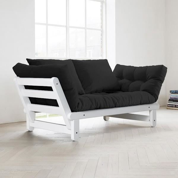 Convertible m ridienne beat blanc futon noir achat for Canape 2 places meridienne convertible