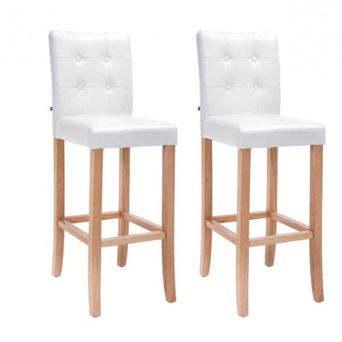 lot de 2 tabourets de bar capitonn en pu blanc et bois. Black Bedroom Furniture Sets. Home Design Ideas