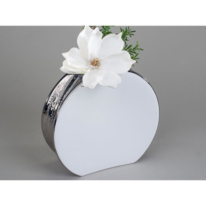 vase design blanc et argent 22 cm achat vente vase. Black Bedroom Furniture Sets. Home Design Ideas