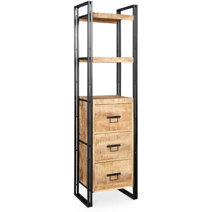 biblioth que onawa avec tiroirs style vintage industriel bois naturel achat vente. Black Bedroom Furniture Sets. Home Design Ideas