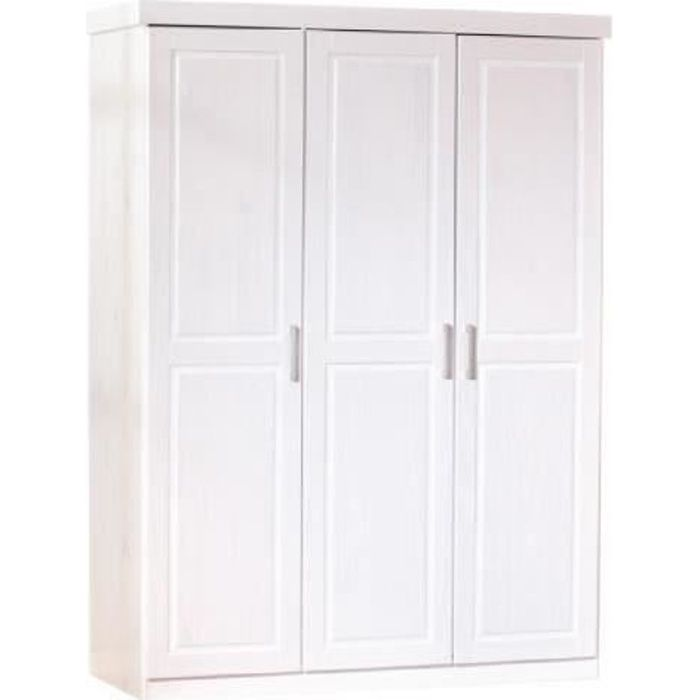 armoire en pin blanche 3 portes alice achat vente armoire de chambre armoire en pin blanche. Black Bedroom Furniture Sets. Home Design Ideas