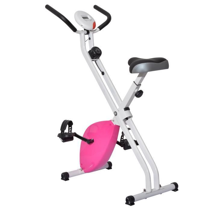 velo d 39 appartement pliable magnetique structure en acier charge max 110kg blanc et rose 75