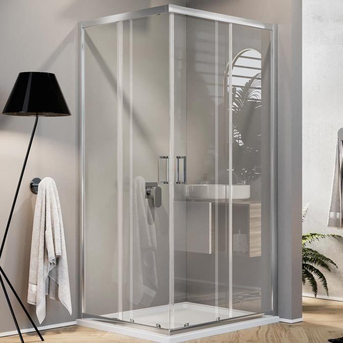 receveur MAYA Cabine de douche H 180 cm verre transparent 75x90 cm