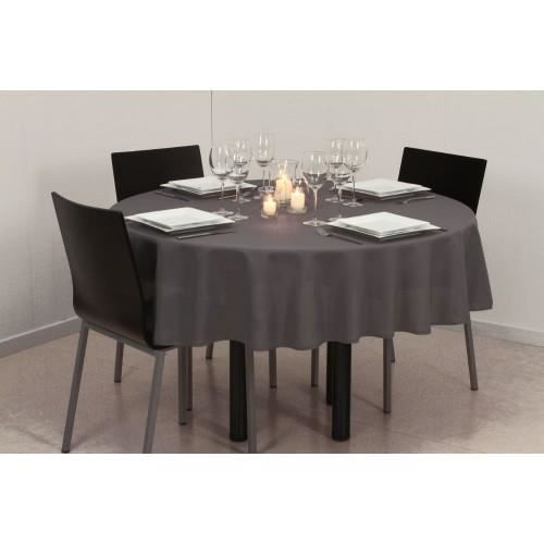 nappe antitache ronde 180cm gris fonc achat vente nappe de table cdiscount. Black Bedroom Furniture Sets. Home Design Ideas