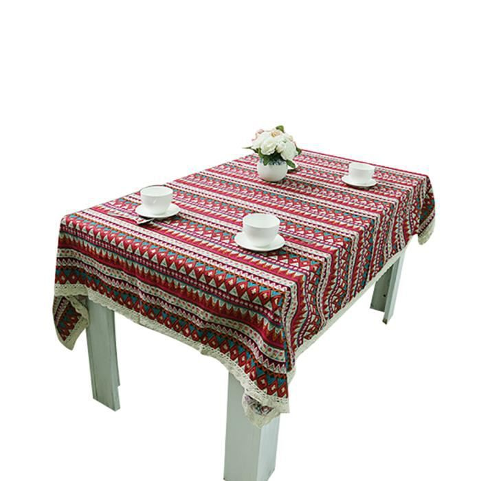Keral Nappes Coton Lin Imprim Nappe De Table Rectangulaire D Carr E Nappe Decorative Anti T Che