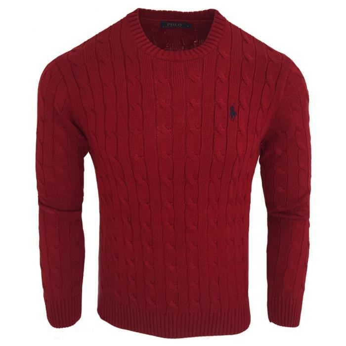 Pull Ralph Lauren homme Pull RF40 rouge bordeaux Rouge Rouge - Achat ... e59ed4673729