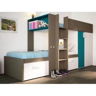lits superpos s julien 2x90x190cm armoire int gr e taupe et bleu achat vente lits. Black Bedroom Furniture Sets. Home Design Ideas