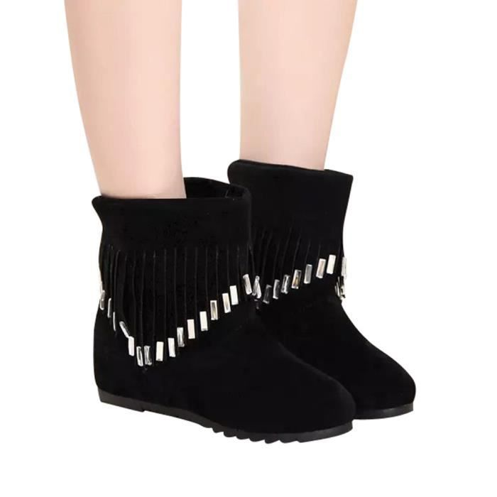 Boots Flat Noir Low Ankle Martin on Shoes Casual Femmes 900 y Slip Tassel OqnRw5TS