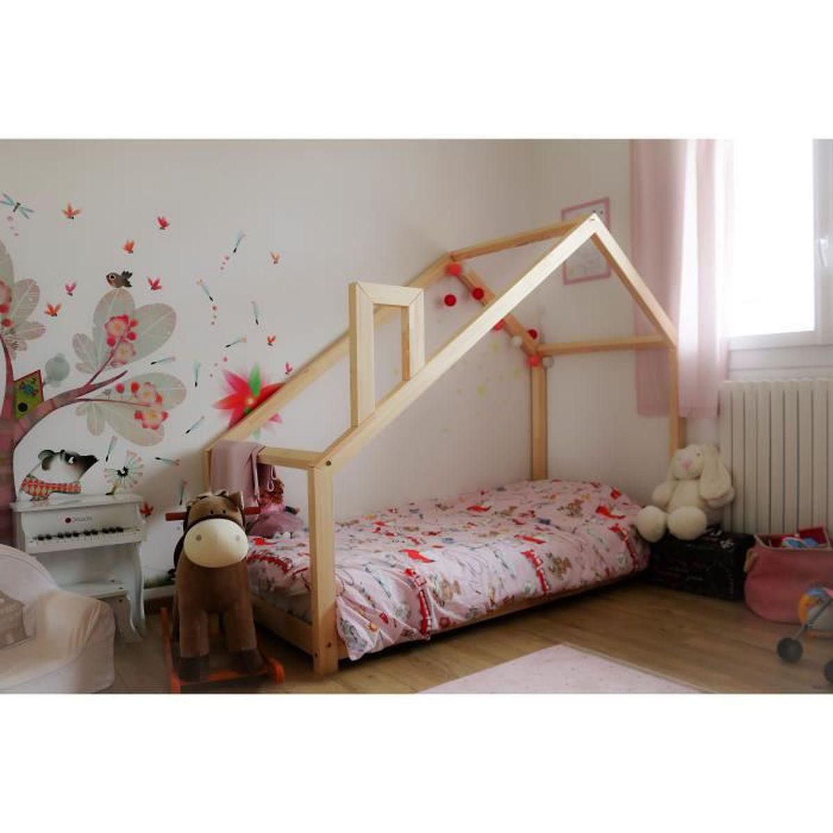 lit cabane maison en pin massif ideal enfant achat. Black Bedroom Furniture Sets. Home Design Ideas