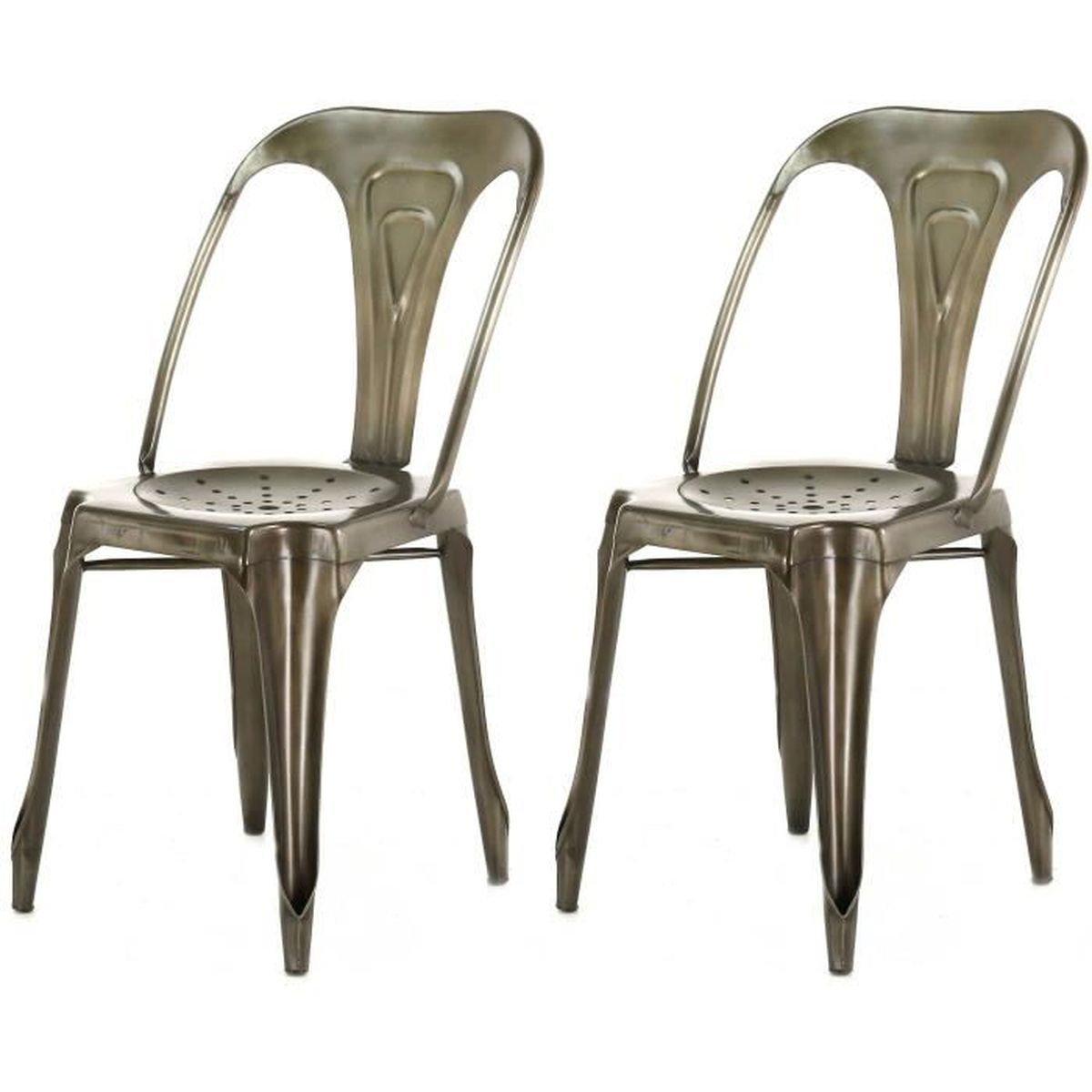 lot de 2 chaises industrielles argent m tal kirk achat vente chaise cdiscount. Black Bedroom Furniture Sets. Home Design Ideas