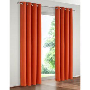 RIDEAU paire de rideaux occultant couleur orange 140x 240