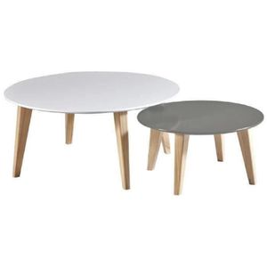 TABLE BASSE ROUND Set de 2 tables basses scandinave blanc et t