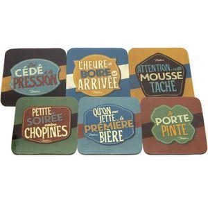 SOUS-VERRE - BOUTEILLE  Set de 6 sous-verres - Boire