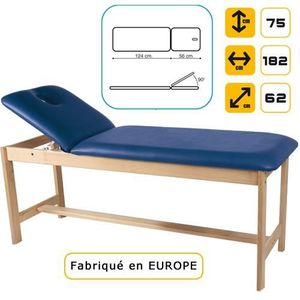 Table de massage Lit de massage en bois, hêtre massif Noir marbré
