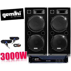 PACK SONO Pack DJ sono AMPLI GEMINI, Enceintes 2x 1000W