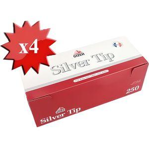 TUBE À CIGARETTE boite de 250 tubes gizeh silver tips avec filtre x