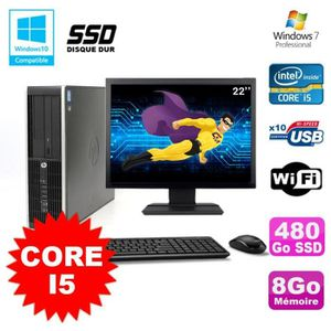 UNITÉ CENTRALE + ÉCRAN Lot PC HP Elite 8200 SFF Core I5 3.1GHz 8Go 480Go