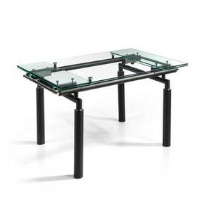 TABLE À MANGER SEULE Table de repas extensible Verre/Noir mat - POKENO
