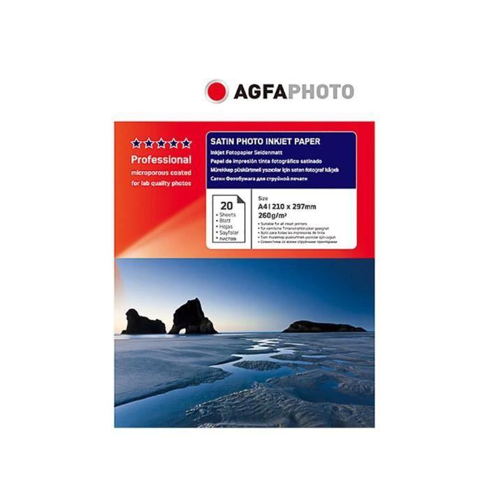 Papier photo A4 AgfaPhoto finition Satiné 260g Jet d'encre - AP26020A4S