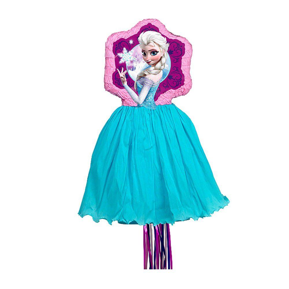 Pinata à ficelles Elsa La Reine des Neiges en papier et plastique - 29,5 x 61,8 x 2,7 cm - 9903157