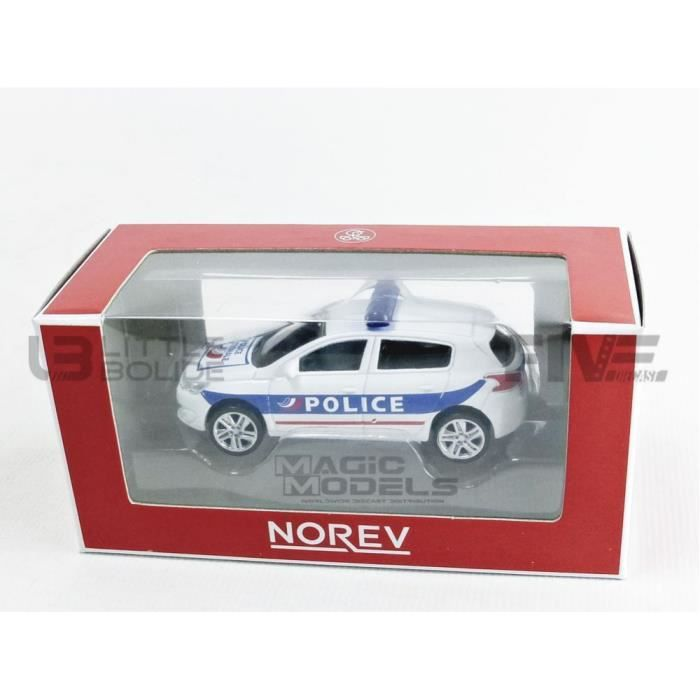 Voiture Miniature de Collection - NOREV 1/64 - PEUGEOT 308 - Police - White / Blue / Red - 319211_308POL