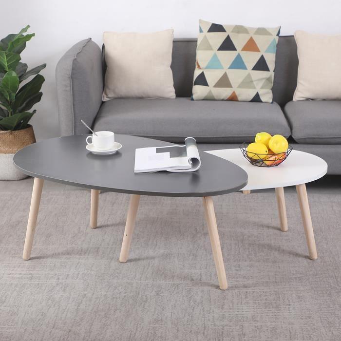 Mixmest® Lot de 2 table basse gigognes, style scandinave, gris + blanc, pieds en bois.