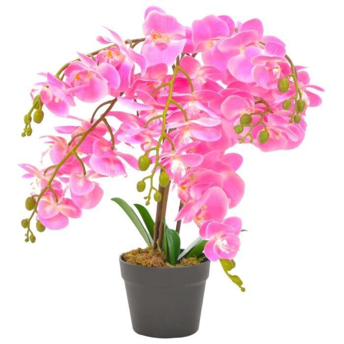Chic© Plante artificielle Style Contemporain - Fleur Artificielle Herbe artificielle - avec pot Orchidée Rose 60 cm #41245